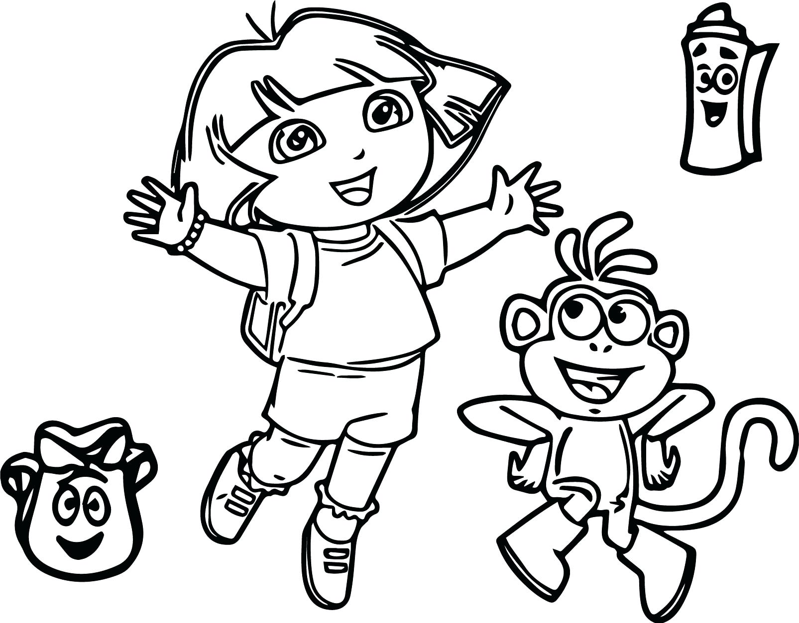 1605x1253 Dora And Friends Coloring Pages Pdf Explorer Cartoon Page Playing