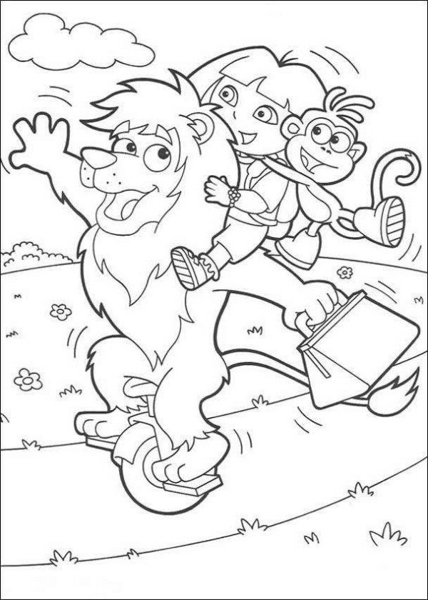 600x840 Dora Playing With Friends Coloring Page