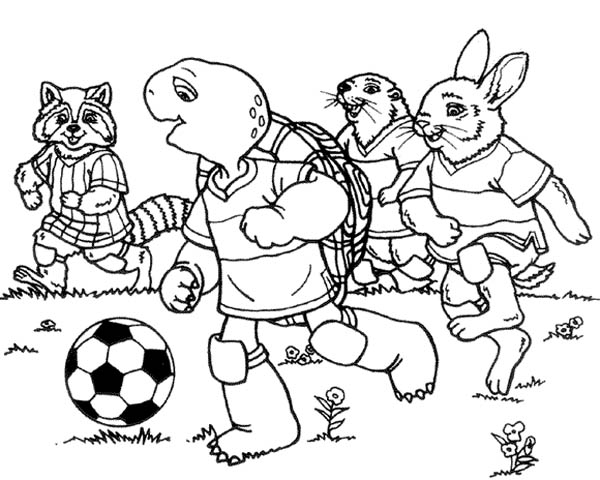 600x480 Franklin The Turtle And Friends Playing Football Coloring Pages