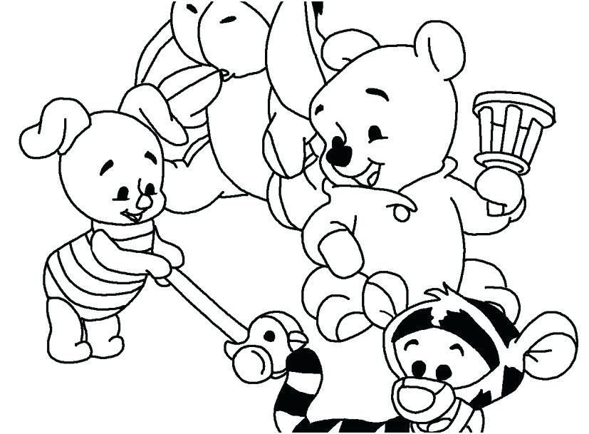 827x609 Baby Coloring Page Coloring Page Baby Pooh And Friends Playing