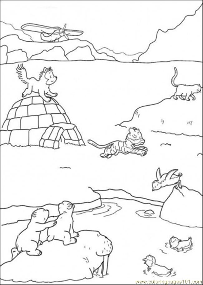 650x912 Polar Bear And Friends Are Playing On The Ice Coloring Page