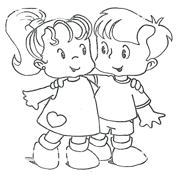600x586 Friendship Coloring Pages Best Friends Coloring Pages Friendship
