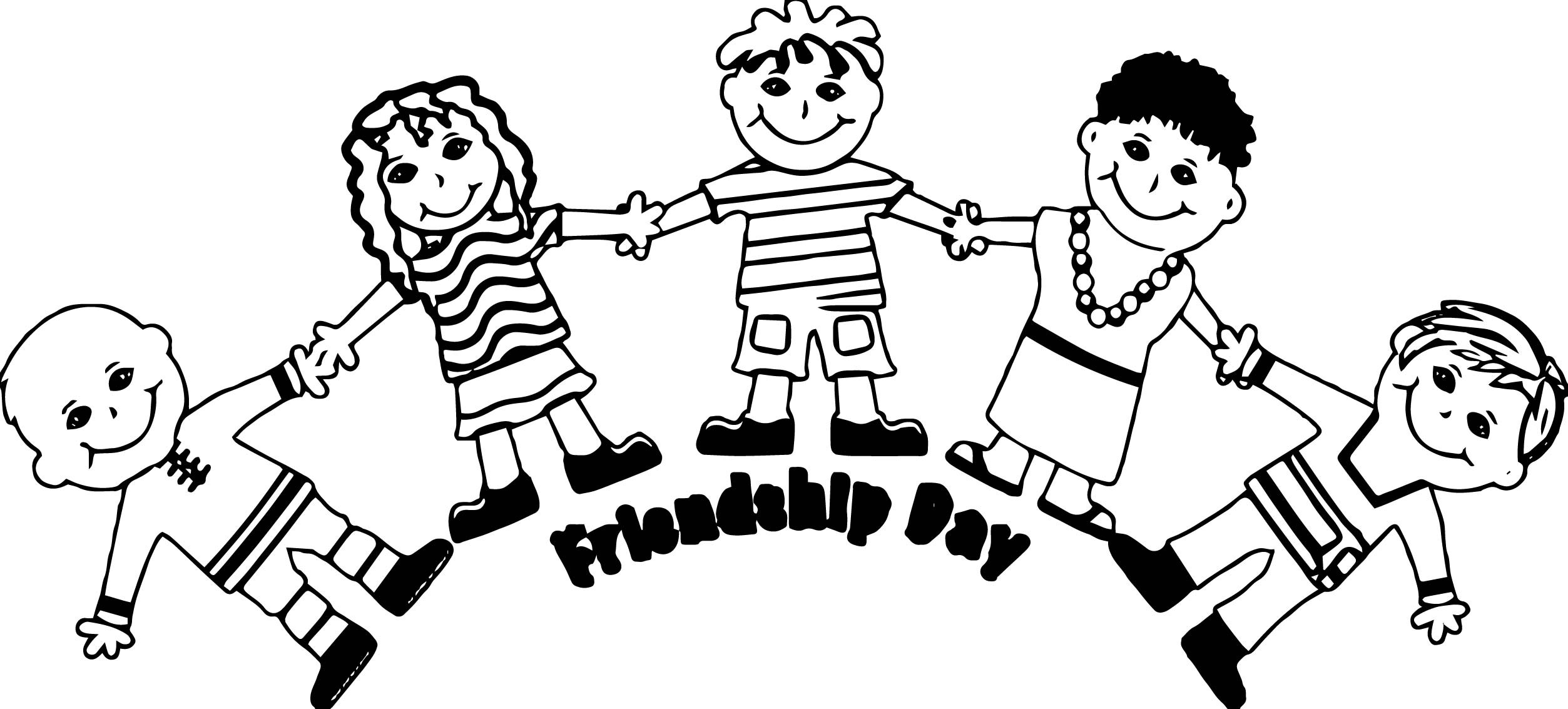 2506x1133 Friendship Coloring Page Unique Friendship Day Five Friends