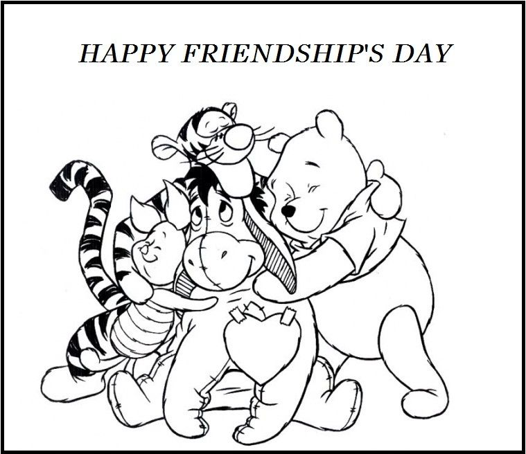 759x656 Friendship Coloring Pages Happy Friendship's Day Winnie The Pooh