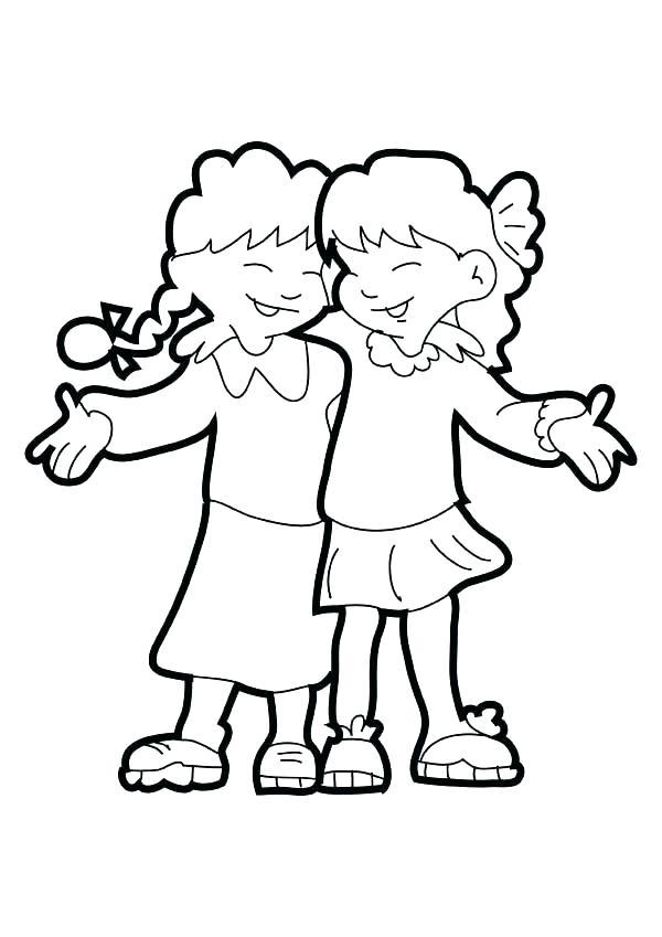 600x849 Friendship Coloring Pages Friendship Coloring Pages Friends