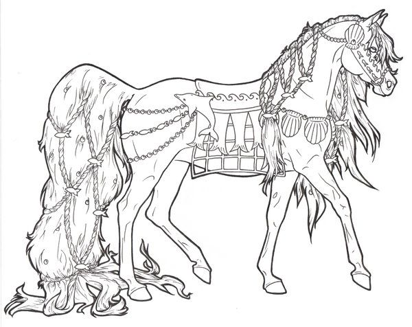 600x476 Realistic Horse Coloring Pages