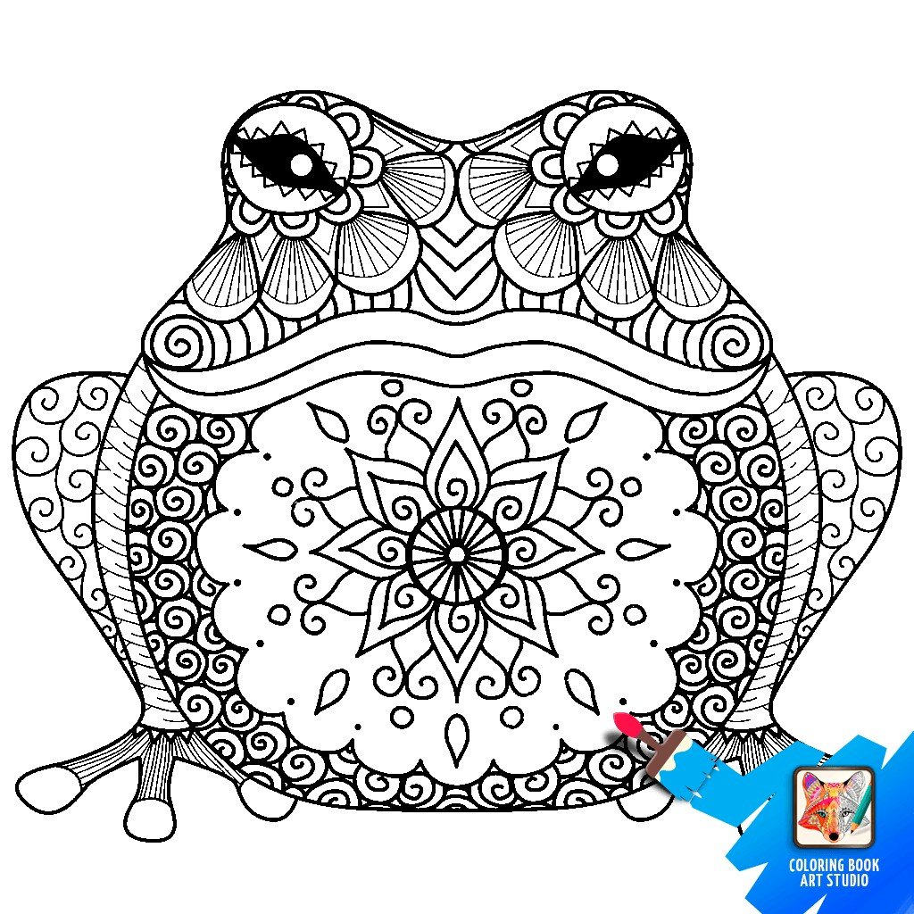 1024x1024 Frog Adult Coloring, Frogs