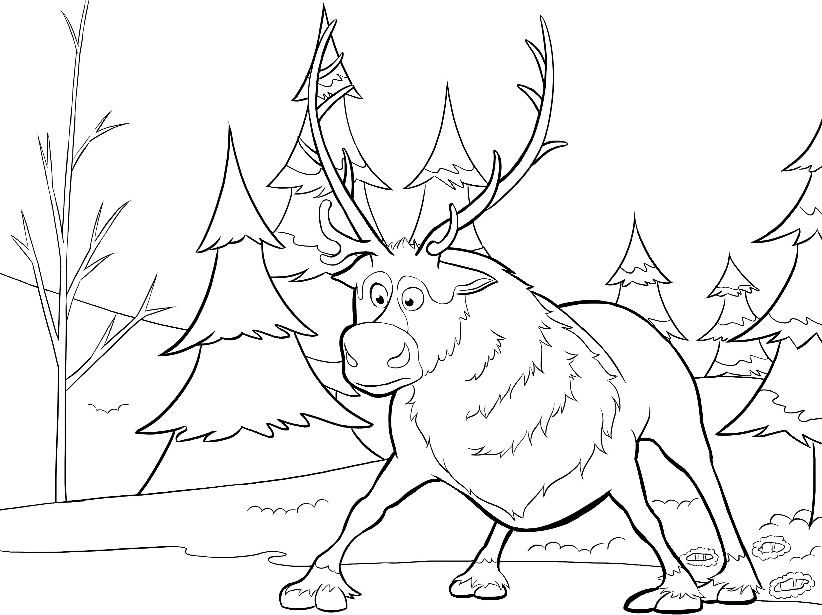 3300x2472 Disney Frozen Sven Coloring Pages Printable Coloring For Kids