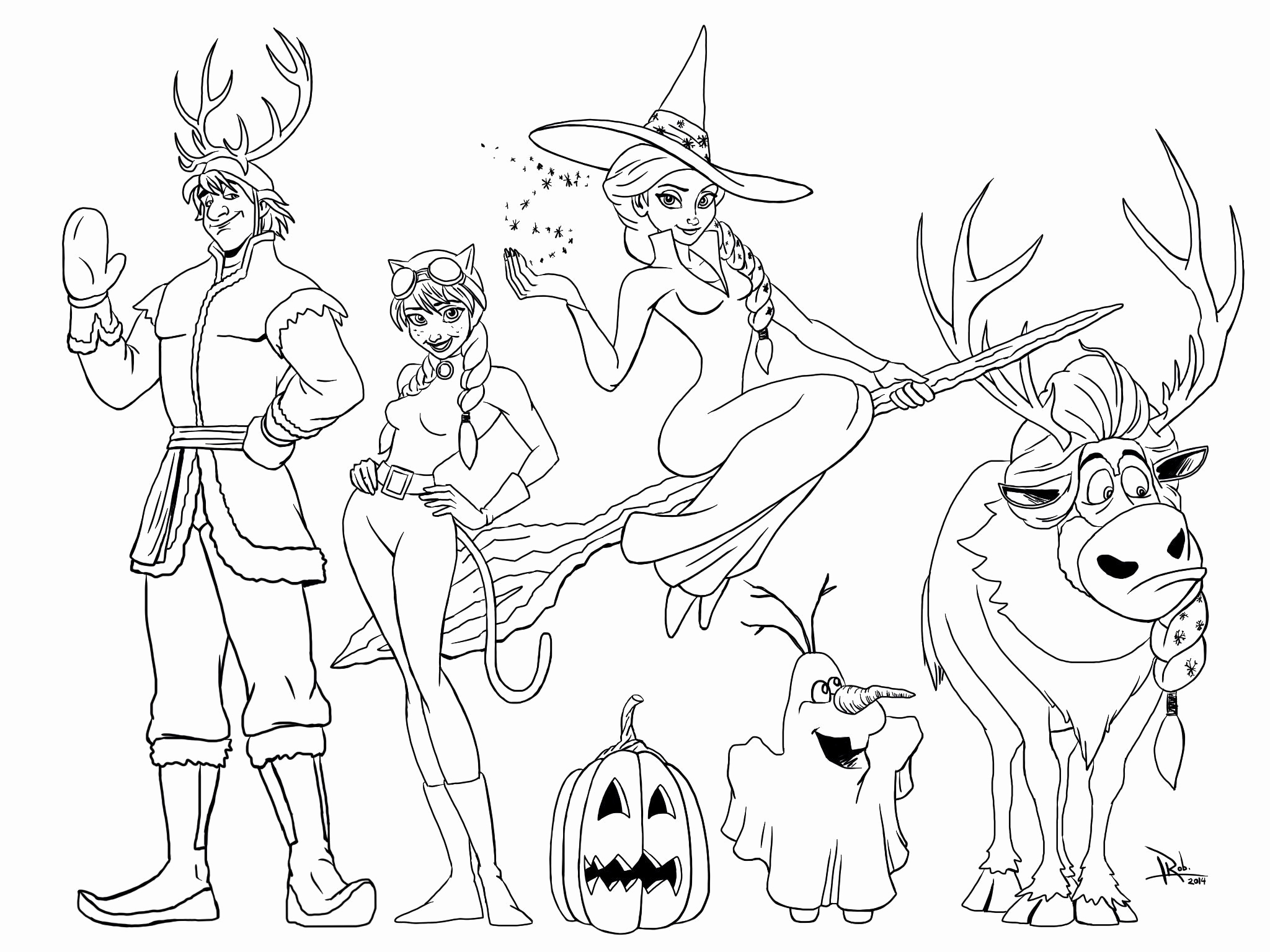 2048x1536 Halloween Coloring Pages Disney Characters All The Disney Frozen