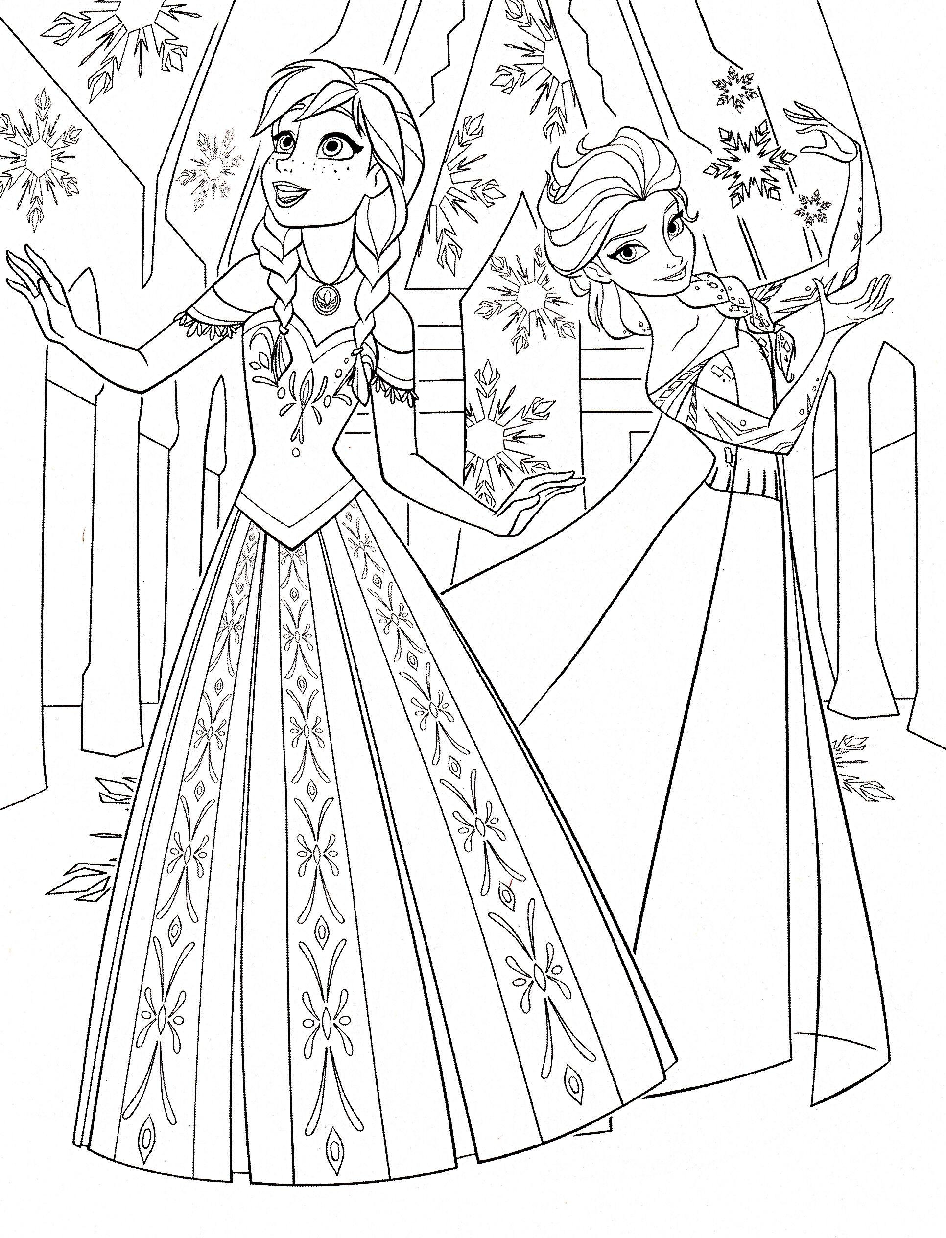 1932x2529 Color Pages Of Anna Elsa Frozen Walt Disney Princess Characters