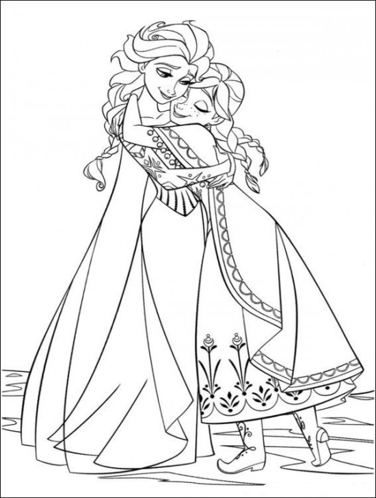 550x727 Elsa And Anna Hugging Free Coloring Page Frozen Coloring Book