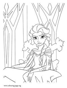 236x310 Elsa Making Snow Using Her Magic Power Coloring Page Coloring Page