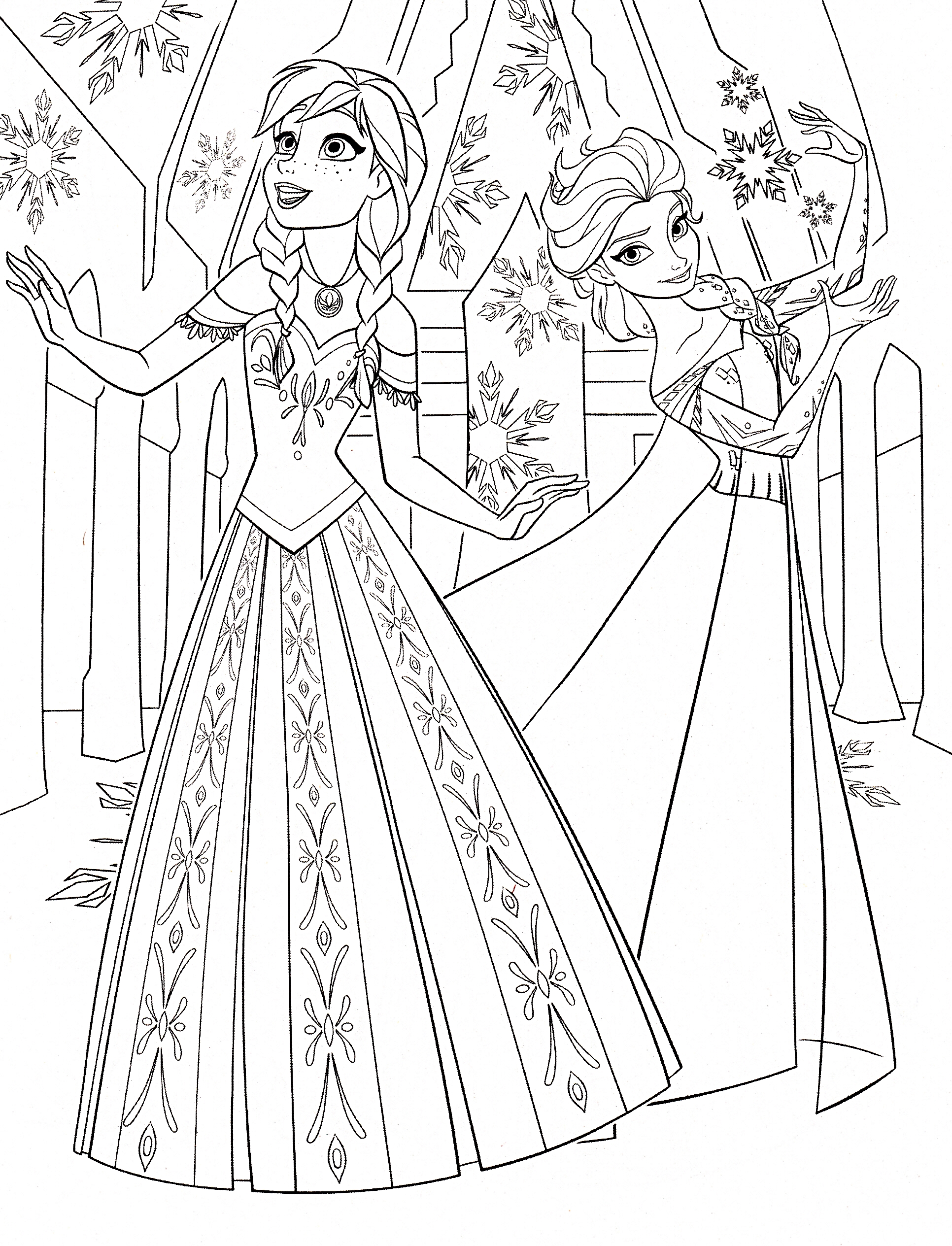 1932x2529 Princess Coloring Pages Frozen Anna And Elsa Printable