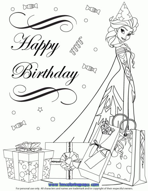 Frozen Happy Birthday Coloring Pages