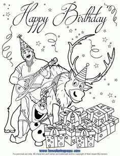 236x305 Frozen Happy Birthday With Love Coloring Page Disney Frozen