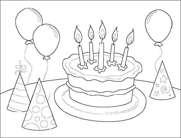 600x458 Happy Birthday Coloring Pages Free Unique Birthday Coloring Pages