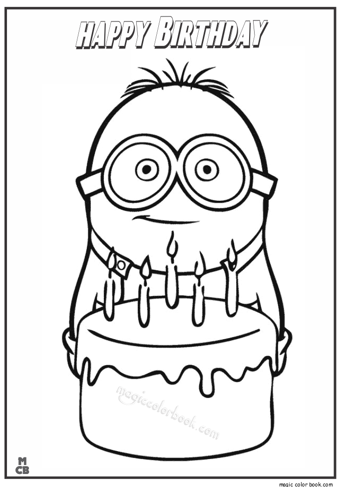 685x975 Minion Happy Birthday Coloring Page