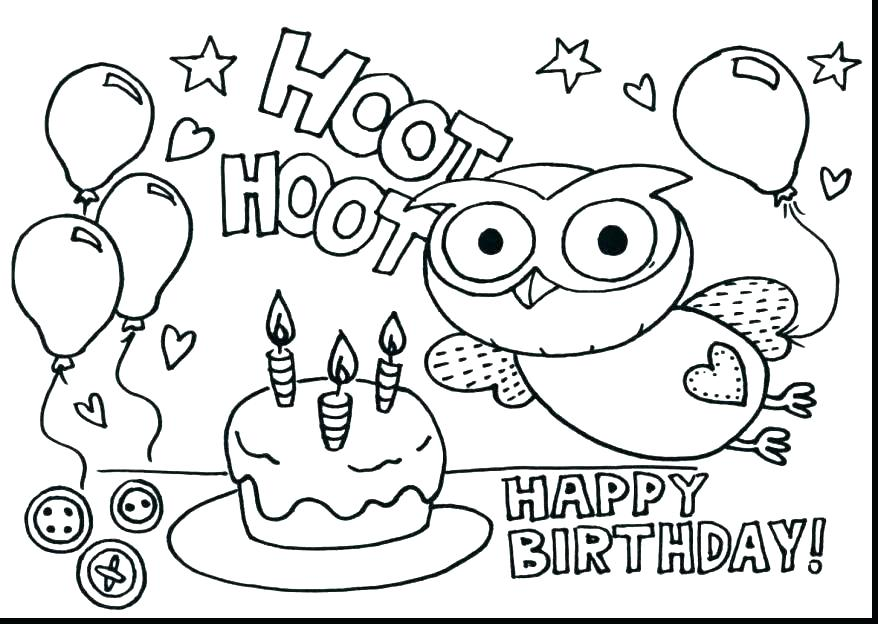 878x624 Birthday Cake Coloring Page With No Candles Free Birthday Coloring
