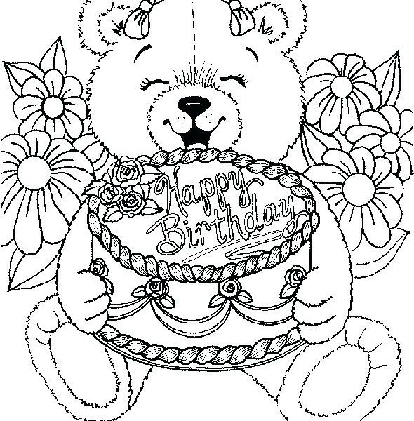 590x600 Birthday Coloring Pages For Free Birthday Coloring Page Free