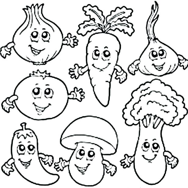Fruit And Veggie Coloring Pages