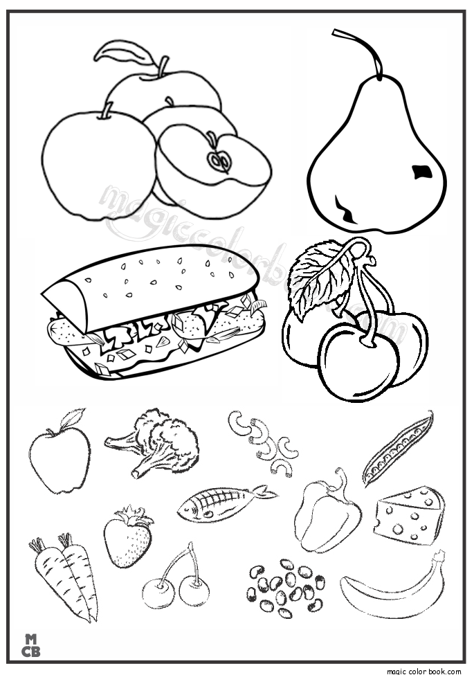 Fruit And Veggie Coloring Pages At Getdrawings Com Free For