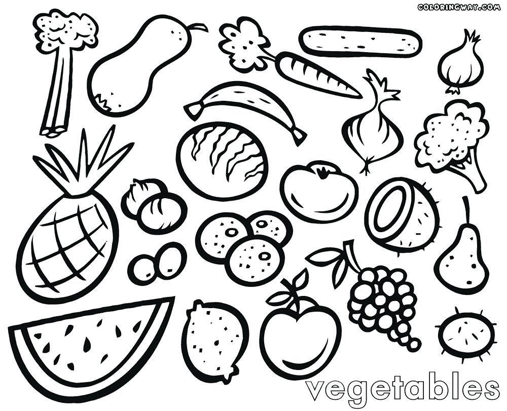 1000x811 Fruit And Vegetable Coloring Pages Sharry Vegetable