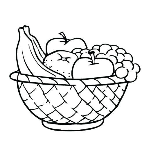 520x509 Fruit Basket Coloring Pages Fruit Basket Coloring Pages Food Fruit