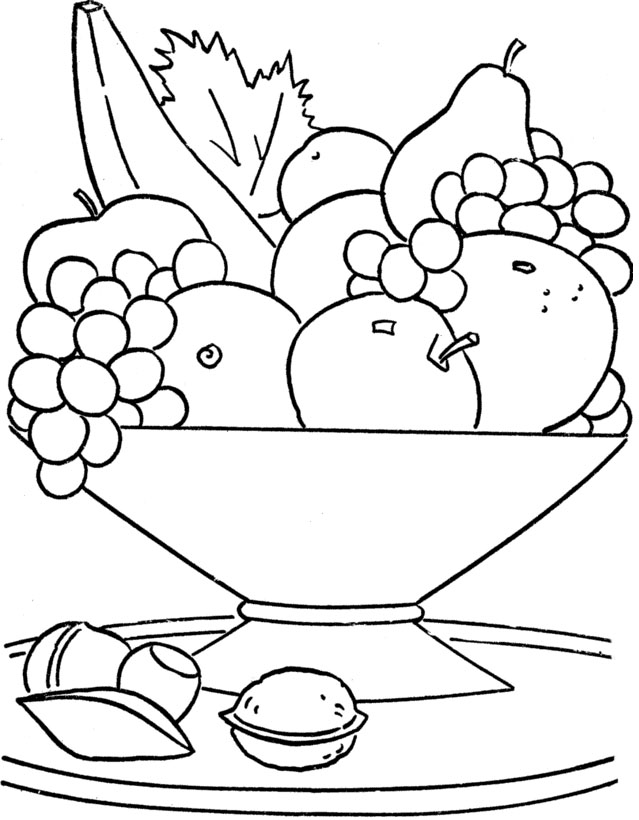 639x820 Fruit Basket Coloring Page