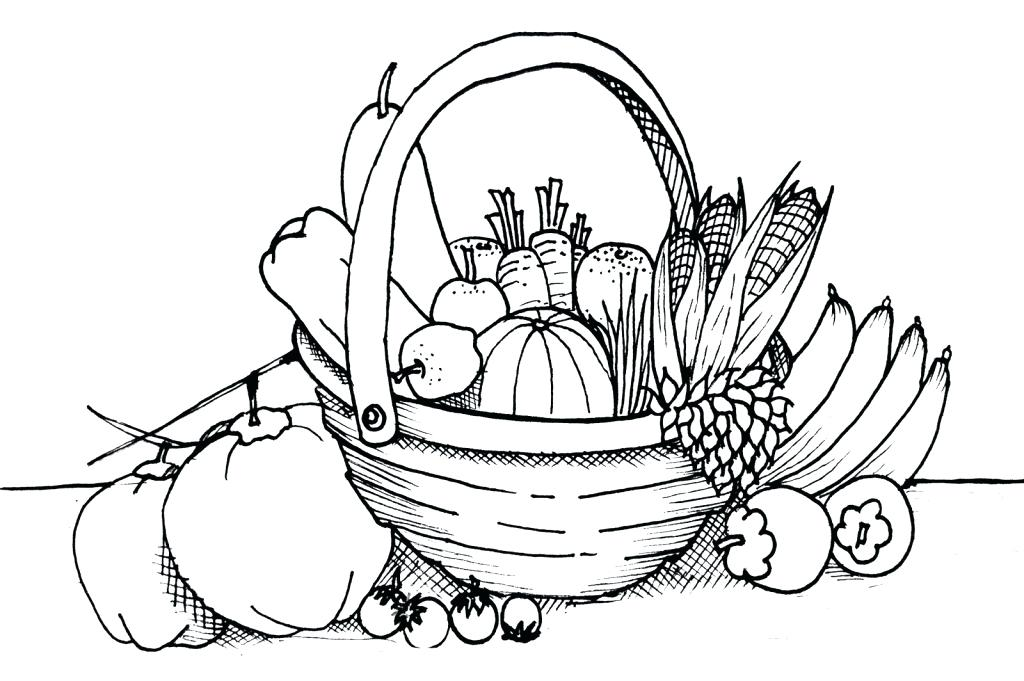 1024x681 Fruit Basket Coloring Pages A Of Fruits Drawing Throughout Empty