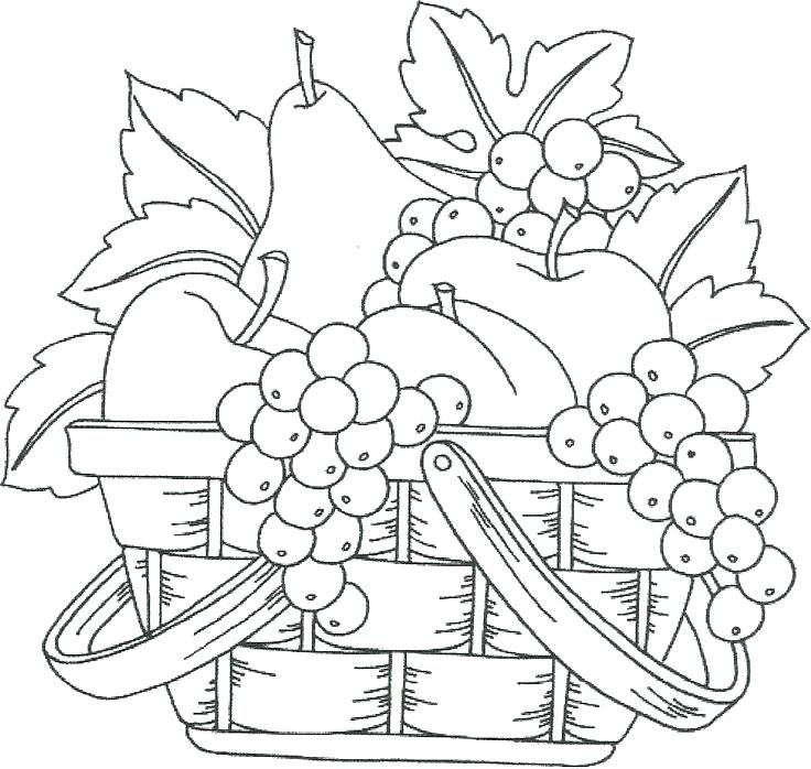 736x698 Fruit Basket Coloring Pages Fruit Basket Coloring Pages Fruits