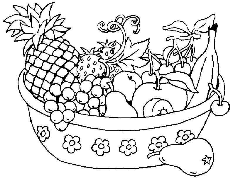 794x618 Fruit Basket Coloring Pages For Kids