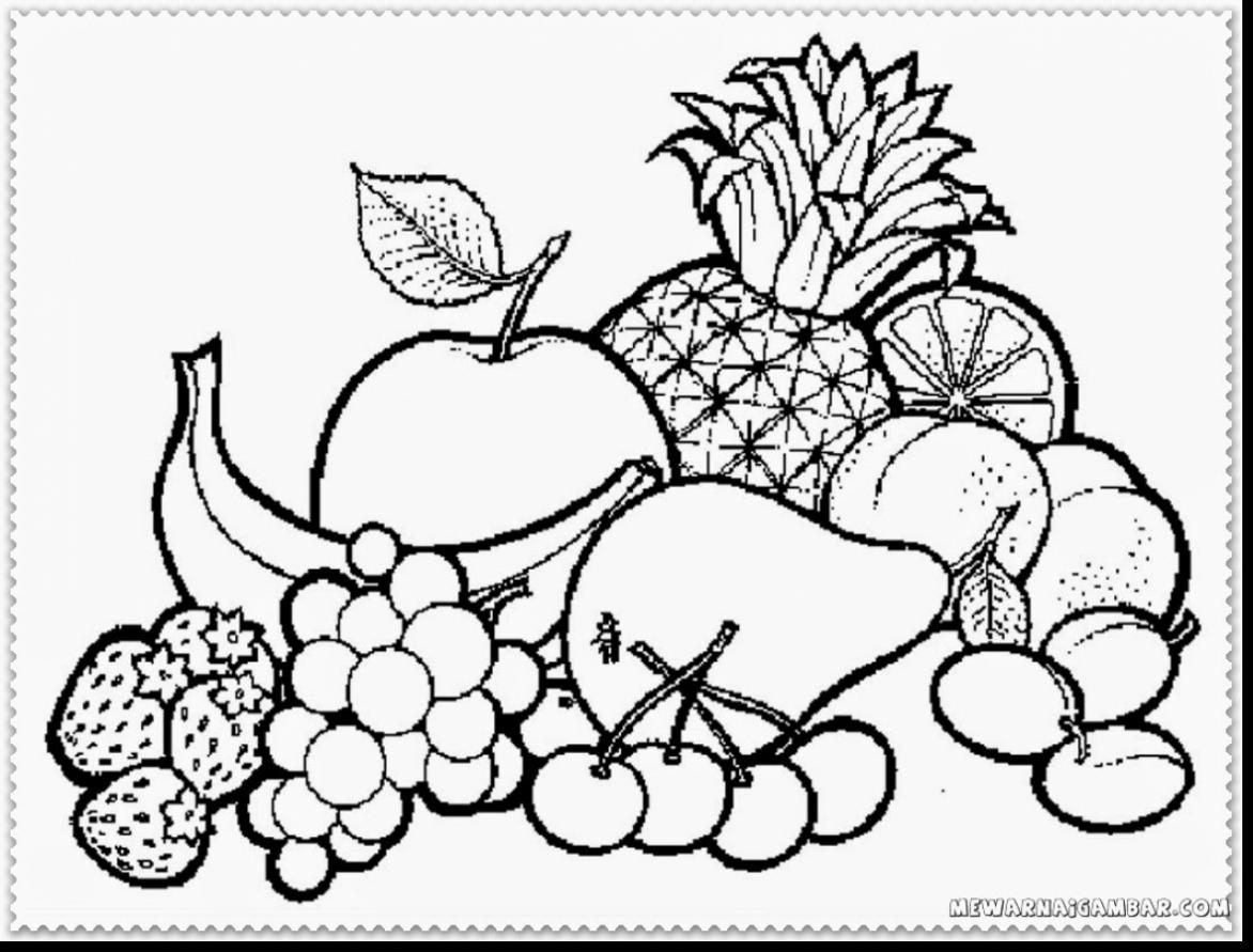 1172x891 Incredible Fruits Coloring Pages Fruit Basket Printable Free Kids