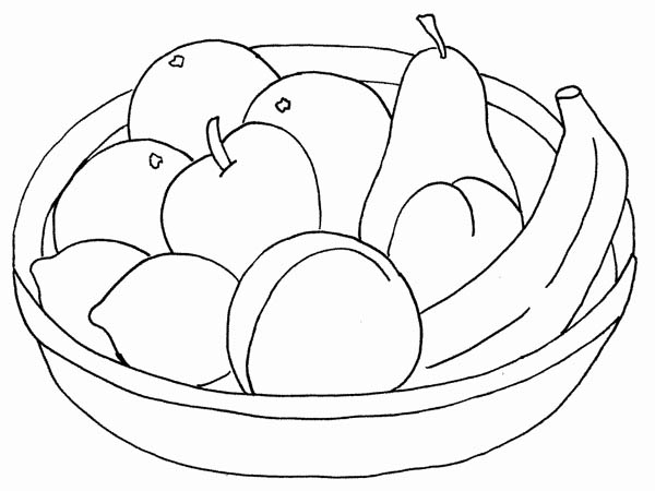 600x450 Kids Drawing A Basket Of Fruit Coloring Page