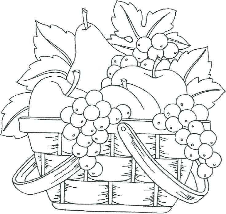 736x698 Coloring Fruit Basket Coloring Page