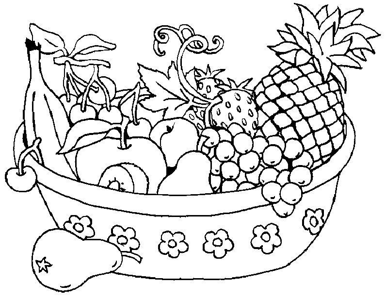 794x618 Coolest Fruit Basket Coloring Pages