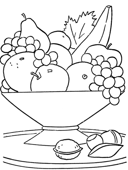 530x701 Fresh Fruit In The Basket Coloring Page Fun Printable