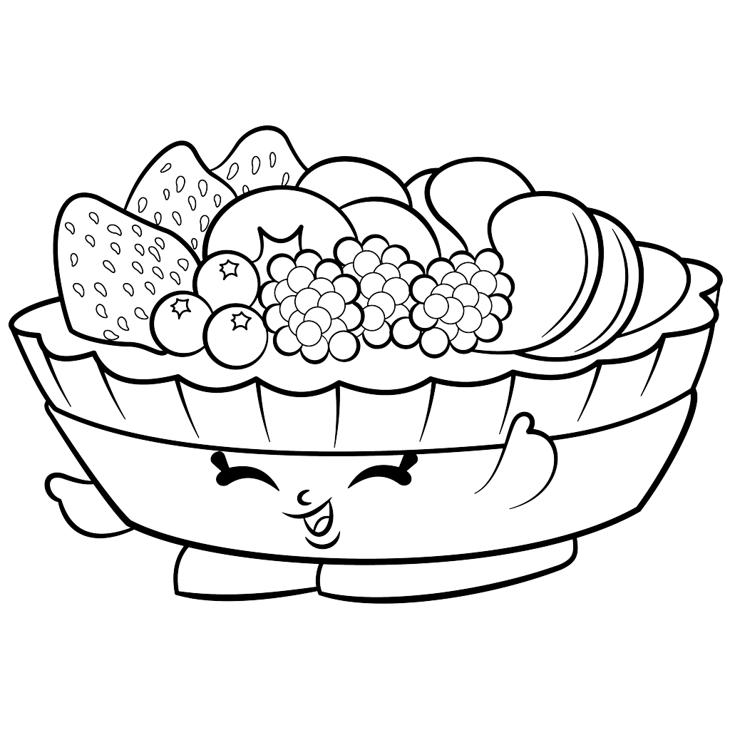 1024x1024 Fruit Salad Shopkin Free Coloring Page Kids, Shopkins Coloring Pages