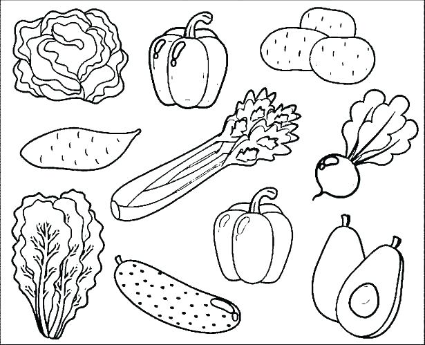 615x499 Vegetable Coloring Pages Fruit And Vegetable Coloring Pages Fruits