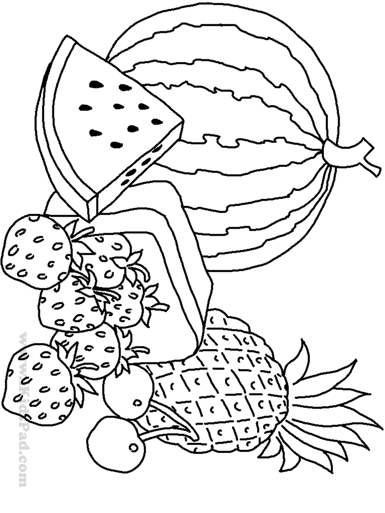 Fruits And Vegetables Coloring Pages For Kids Printable At