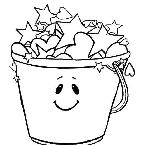 600x610 Smiling Bucket Full Of Stars Coloring Pages Best Place To Color