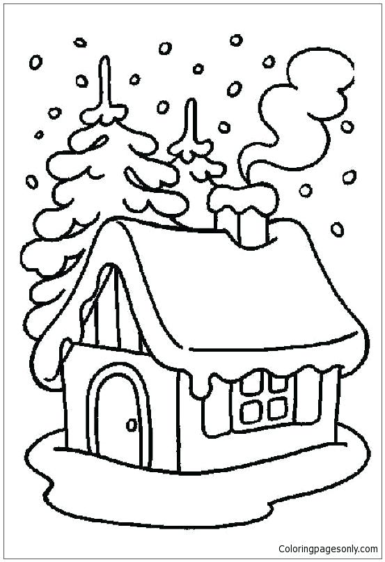 553x807 House Coloring Pages Winter House Coloring Page Free Full House