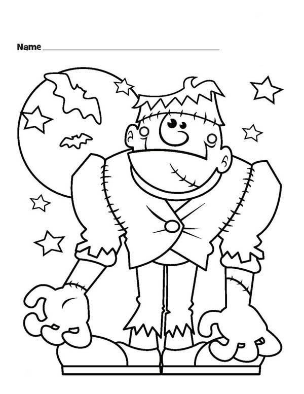 600x777 Frankenstein Coloring Sheets Monster Halloween Frankenstein