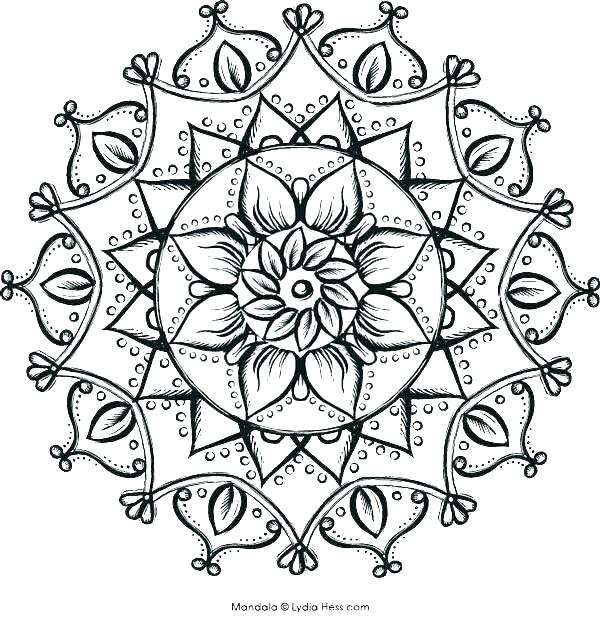 600x617 Coloring Page Of Flower Mandala Coloring Pages Flower Coloring