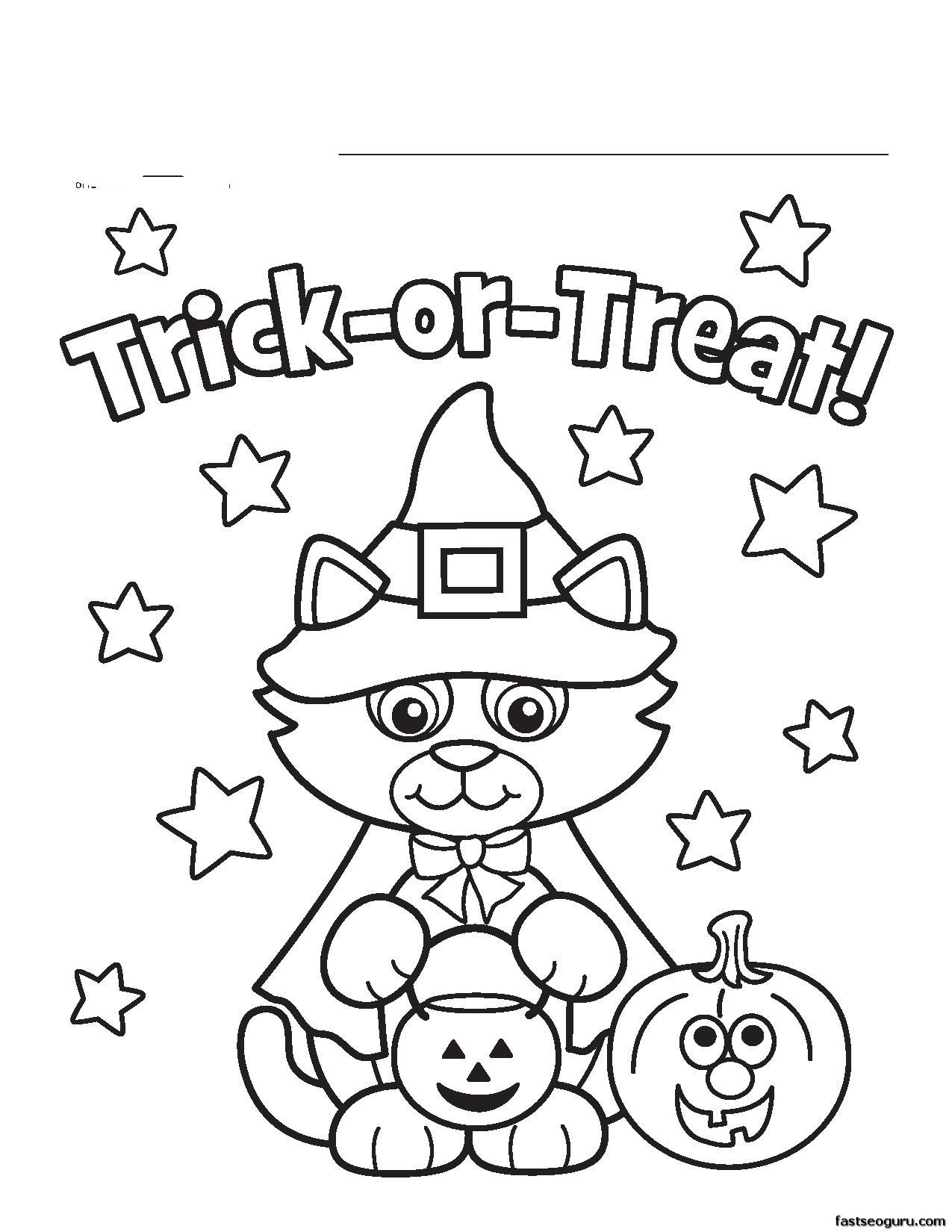 1275x1650 Halloween Coloring Pages For Kids Color Page Preschool Within