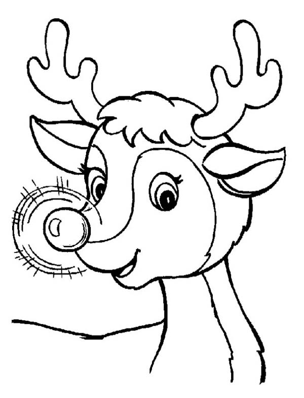 600x785 A Sweet Christmas Reindeer With Glowing Nose On Christmas Coloring