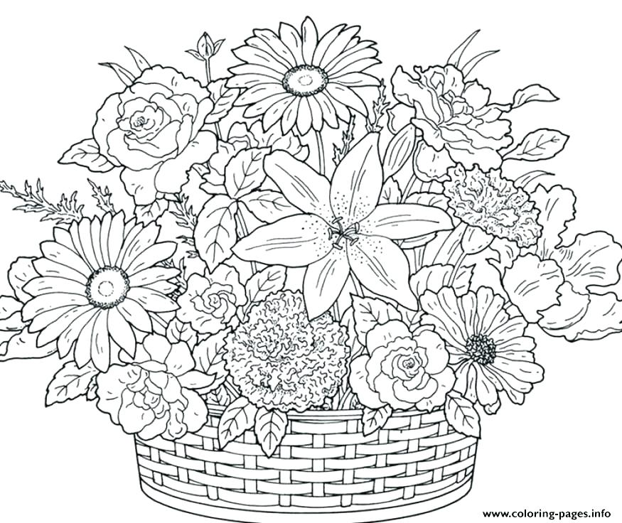 875x736 Floral Coloring Pages Good Flowers Printable Coloring Pages