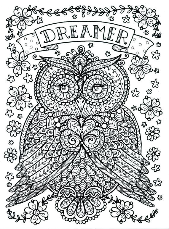 570x774 Owl Coloring Pages For Adults Free Detailed Owl Coloring Pages