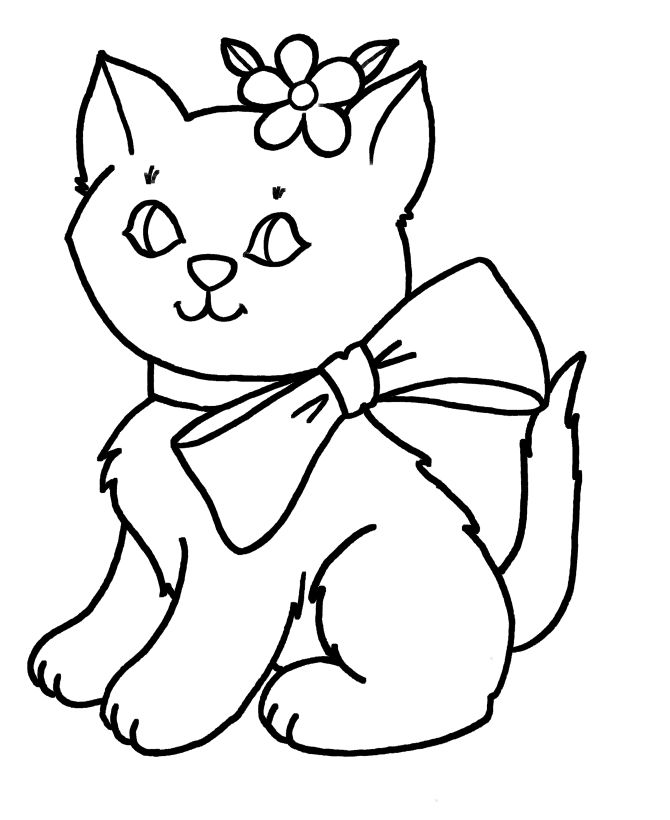670x820 Simple Color Pages Free Coloring Pages For Girls Cats And Flowers