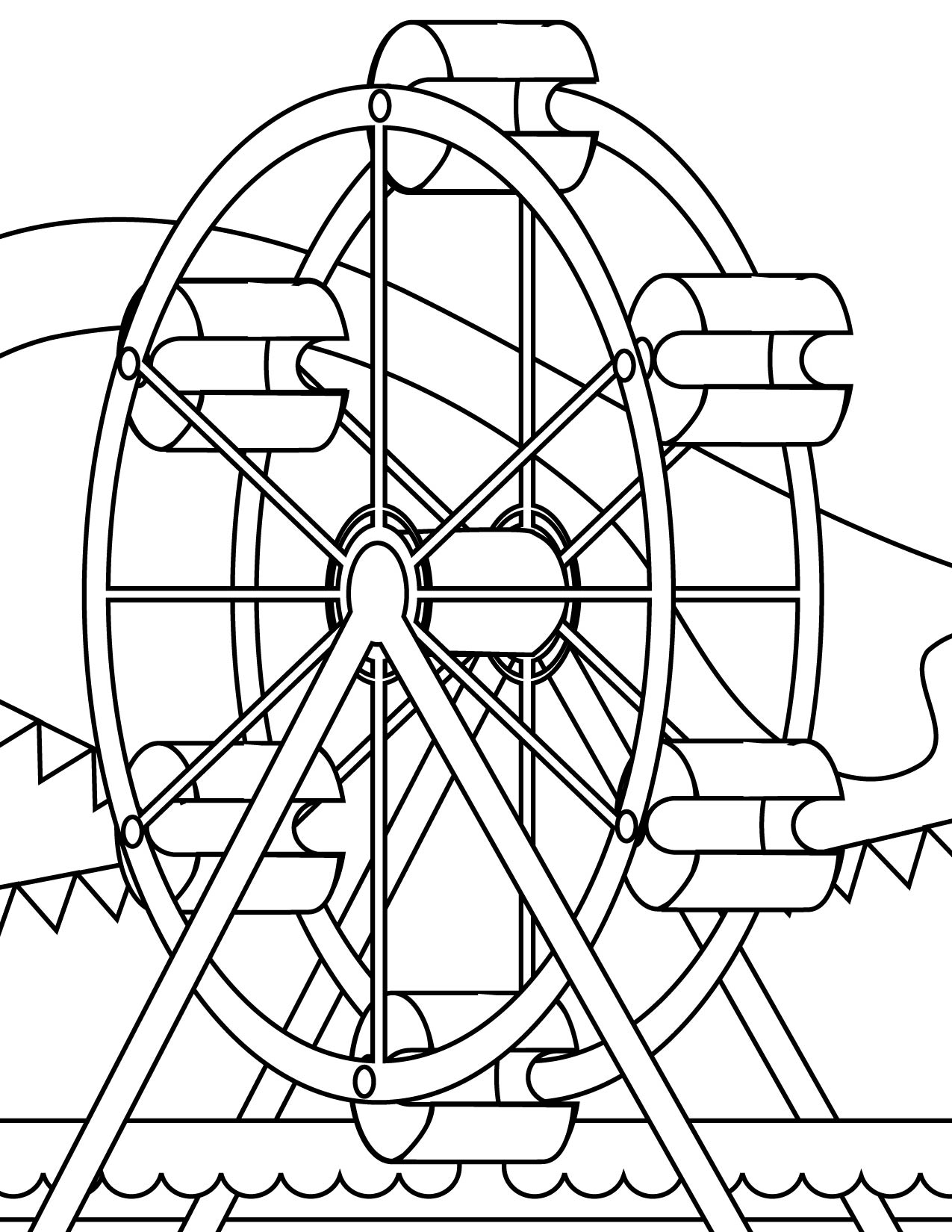 1275x1650 Ferris Wheel Coloring Page