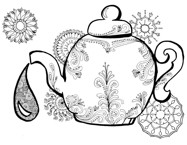 792x612 Teapot Printable Coloring Pages